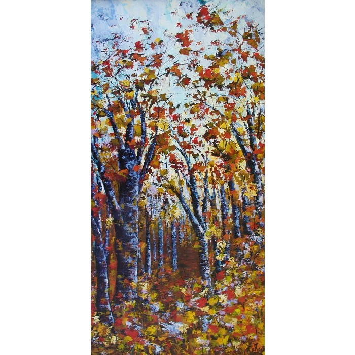 Les chemins de la vie, oeuvre de Andrée LaRoche, artiste peintre. Oeuvre abstraite réalisée à l'acrylique, sur toile etàla spatule.