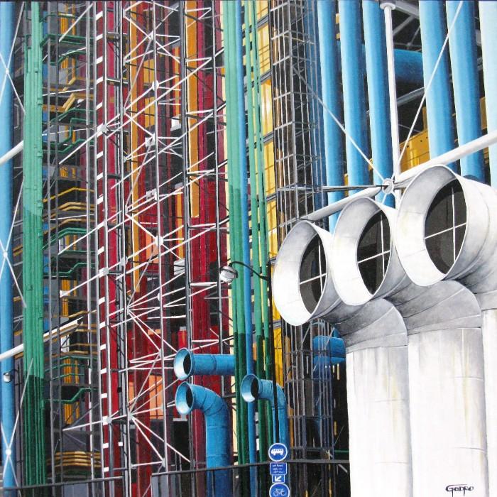 Huile sur toile del'artiste peintre Pierre Godreau - GODRO. Inspiré du Centre Georges-Pompidou à Paris.
