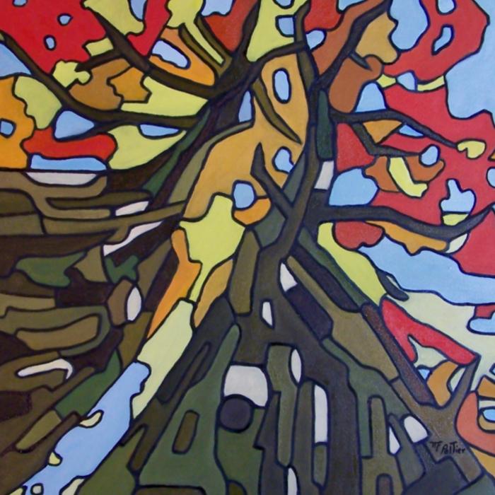Huile sur toile de style naïf réalisée par l'artiste peintre Marie-France Pelletier et inspirée par l'image de deux arbres presque entrelacés et de leurs couleurs automnales.