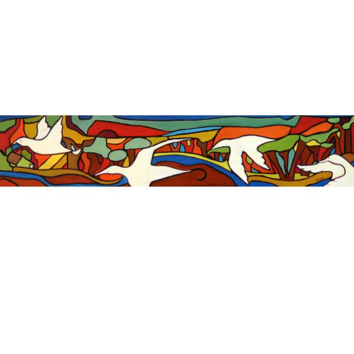 Oeuvre de style naïf mettant en vedette le départ des oiseaux en automne et les magnifiques couleurs de la saison.