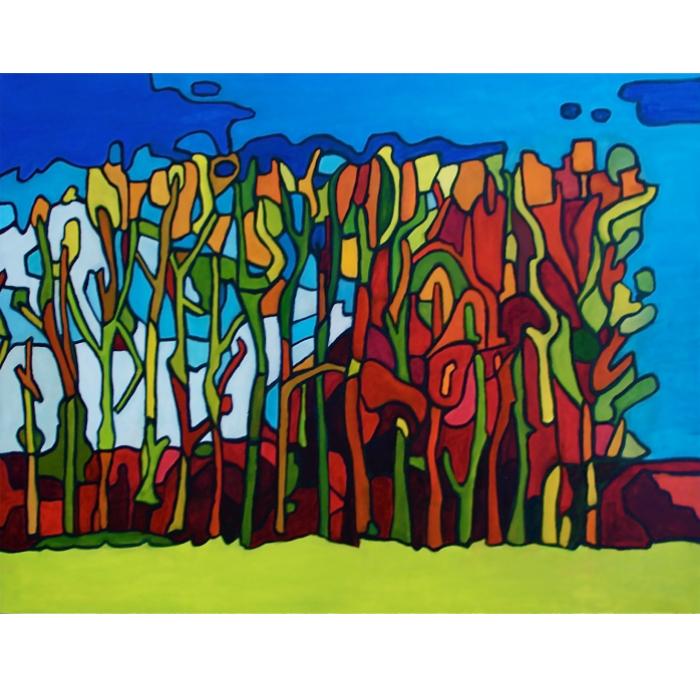 """Bosquet d'arbres 24"""" x 30"""" - oeuvre encadrée"""