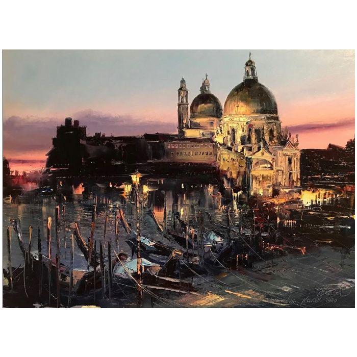 Huile sur toile de l'artiste peintre Narek Arakelyan. Vue de nuit de Venise.