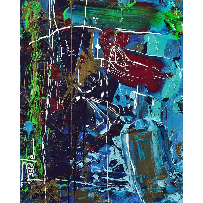 Oeuvre abstraite de l'artiste peintre Pascale Labelle dans laquelle la matière, l'acrylique, est utilisée avec une telle abondance que le résultat est quasi sculptural.