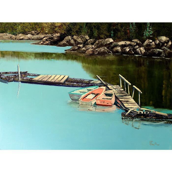 Magnifique paysage réaliséàla spatule et représentant un petit coin du Nouveau-Brunswick. Huile sur toile de l'Artiste Rénald Gauthier.