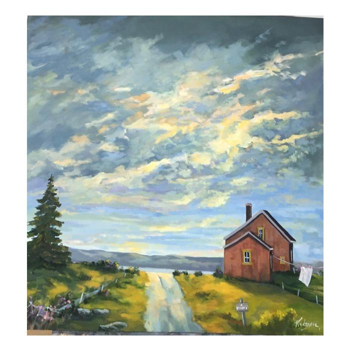 Huile sur toile del'artiste peintre Rodrigue Laplante. Paysage rural de la région de Kamouraska au Québec, Canada