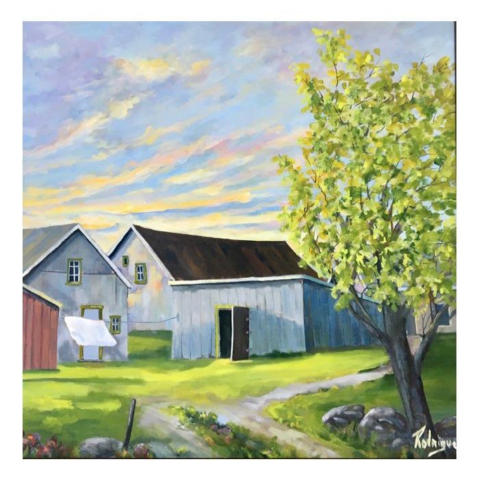 Huile sur toile de l'artiste peintre Rodrigue Laplante. Paysage rurale représentant Cap-aux-Oies au Québec.