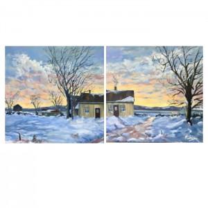 """L'hiver en deux temps - diptyque (2x) 24""""x24"""" - 24x48po total"""